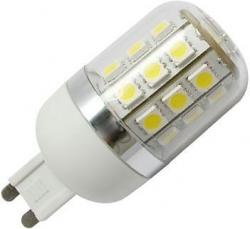 LED žárovka G9, 27x SMD LED, 230V/4W, teplá bílá