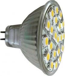 LED žárovka MR16, 21xLED SMD 5050, teplá bílá, 12V/4W