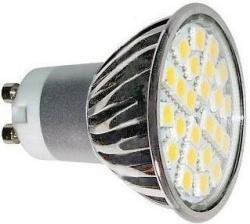 LED žárovka GU10, 24xLED SMD 5050, 230V/5W, teplá bílá