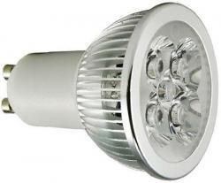 LED žárovka GU10, 4xLED 1W, 230V/4W, studená bílá 6000K