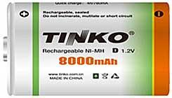 Akumulátor nabíjecí NiMH D, 1,2V/8000mAh, TINKO, 1ks