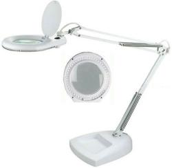 Stolní lupa s LED osvětlením, 5 dioptrií, barva bílá, podstavec
