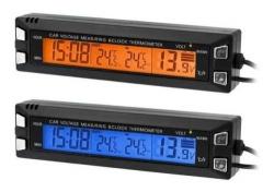 Digitální teploměr, hodiny, voltmetr do automobilu 3v1 EC30